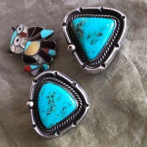 Classic Vintage Old Pawn Navajo Sterling Earrings